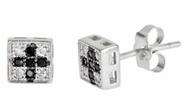 14k white gold layer on Square Cross style black CZ Sterling Silver Stud... - $9.41
