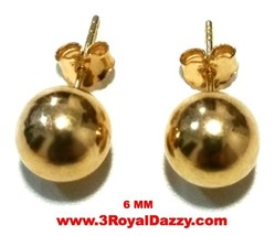 14k Yellow gold layer on 925 Sterling Silver Full Round Ball Stud Earrin... - $7.66