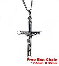 18k layered over on Silver Crucifix Jesus Cross Christian Pendant FREE b... - $17.62
