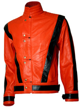 Orange & Black Michael Jackson MJ Thriller Leather Jacket | LJM - $219.00