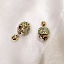 Auth Christian Dior Rare Green Rose Petal Crystal Mise En Dior Pearl Earrings