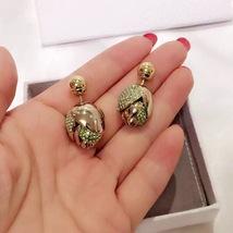 Auth Christian Dior Rare Green Rose Petal Crystal Mise En Dior Pearl Earrings image 2