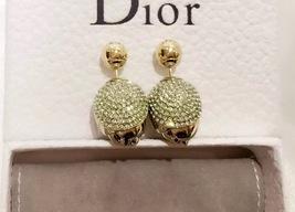 Auth Christian Dior Rare Green Rose Petal Crystal Mise En Dior Pearl Earrings image 3