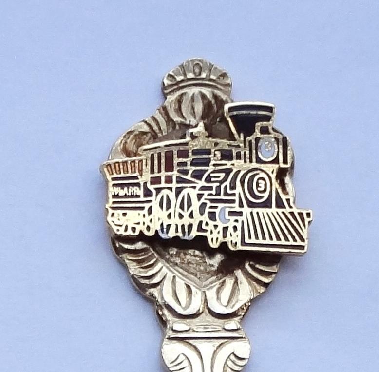 Collector souvenir spoon train locomotive steam engine cloisonne emblem  1