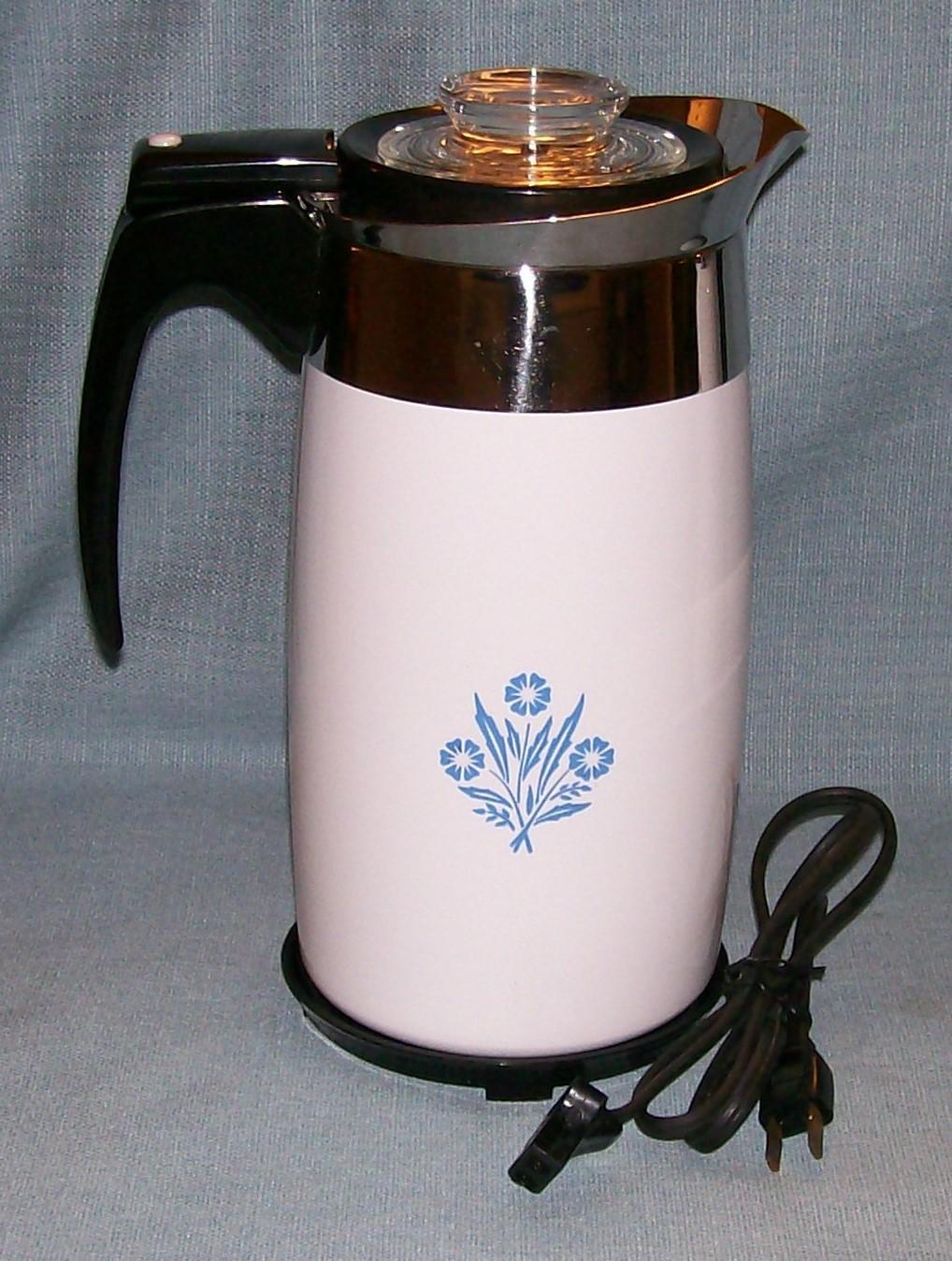 Corning Ware BLUE CORNFLOWER Electric Coffee Pot/Percolator 10 cup P-80-EP EUVC