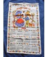 VINTAGE 1978 COTTON CALENDAR KITCHEN TOWEL HAPPINESS IS BOY GIRL FLOWERS... - $14.80