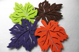 Leaves Felt Coaster Autumn Shape 6pcs Laser Cut Handmade Eire surface protector - $14.37