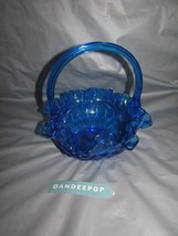 "Blue Fenton Art Glass EAPG Ruffle Top Basket Shape Candy Bowl Dish 8"" - $59.39"