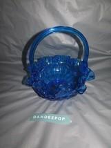 "Blue Fenton Art Glass EAPG Ruffle Top Basket Shape Candy Bowl Dish 8"" - $59.39"