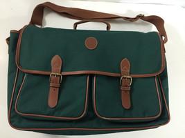 RALPH LAUREN POLO CANVAS SATCHEL CARRY BAG STRAP GREEN FAUX LEATHER TRIM - $38.64