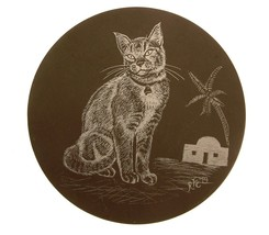 Cat design on polished slate plaque or stand GB352 - $27.66