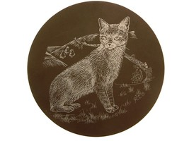 Cat design on polished slate plaque or stand GB353 - $27.66