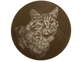 Cat design on polished slate plaque or stand GB354 - $27.66