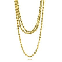"Mens Refurbished 16K Gold Plated 4mm Rope Chain Bundle 3 Sets (6x24"" & 3... - $19.79"
