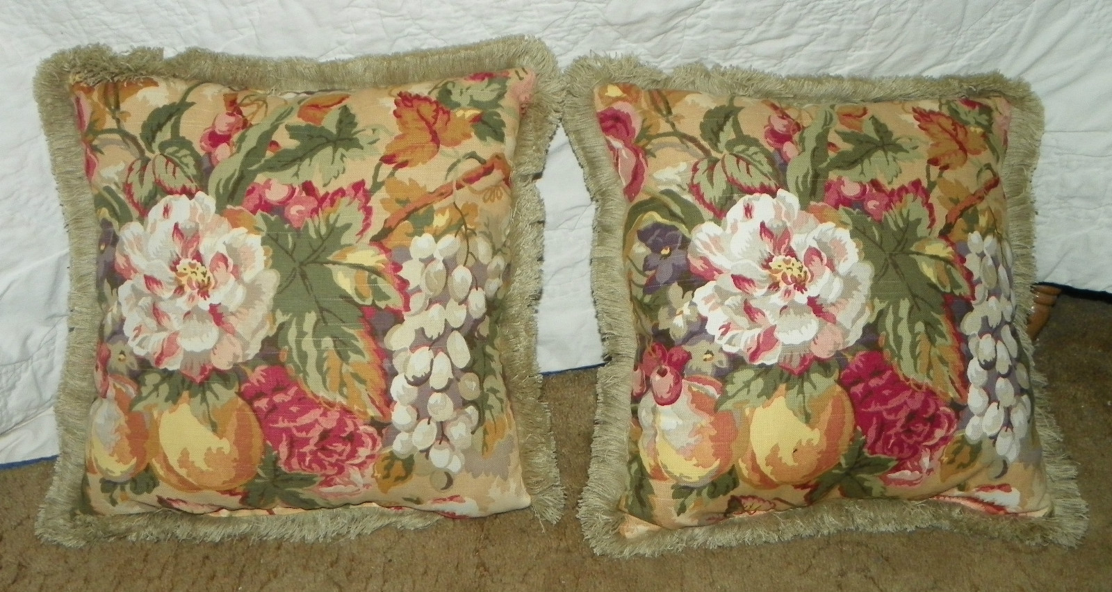 Primary image for Pair of Fruit Print Pillows / Throw Pillows 18 x 18  (PL92)