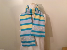 American Eagle Outfitters Striped Winter Scarf Baby Blue Yellow Turquoise