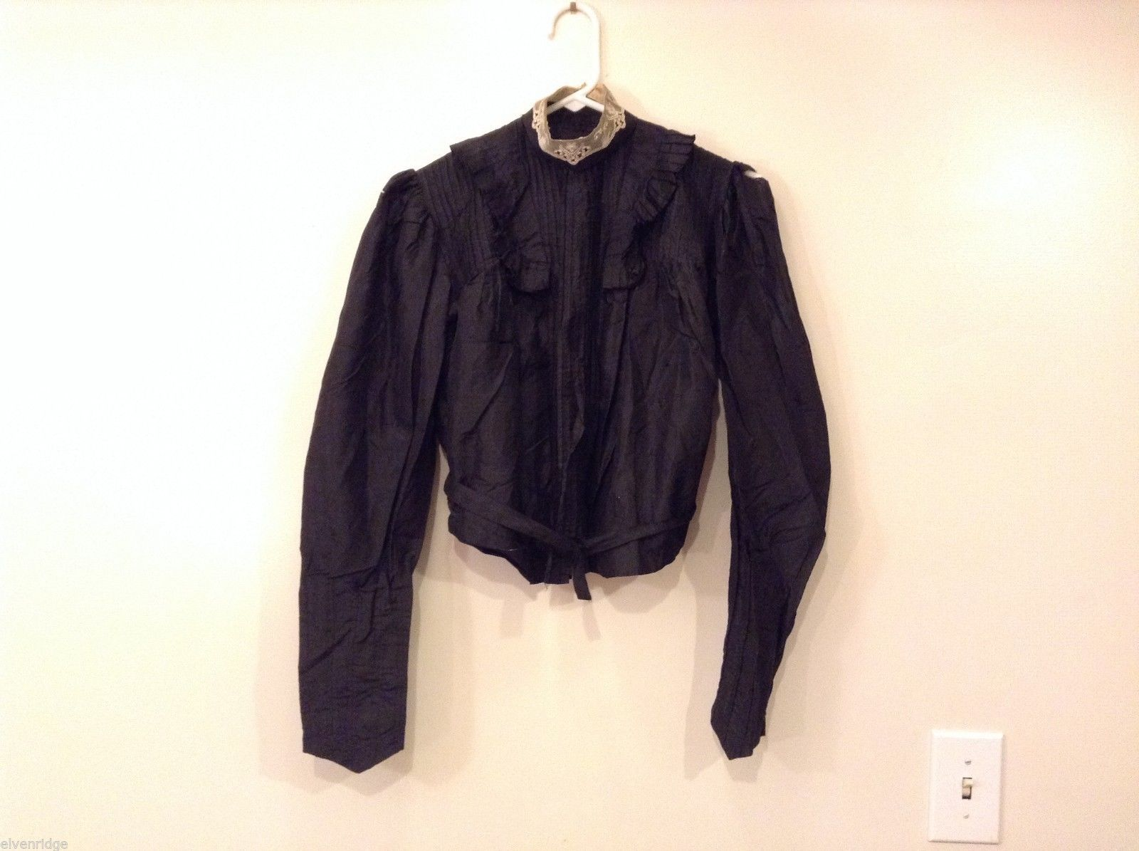 Antique Black Silk Taffeta Pleated Blouse Ruffles Museum Piece