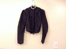 Antique Black Silk Taffeta Pleated Blouse Ruffles Museum Piece