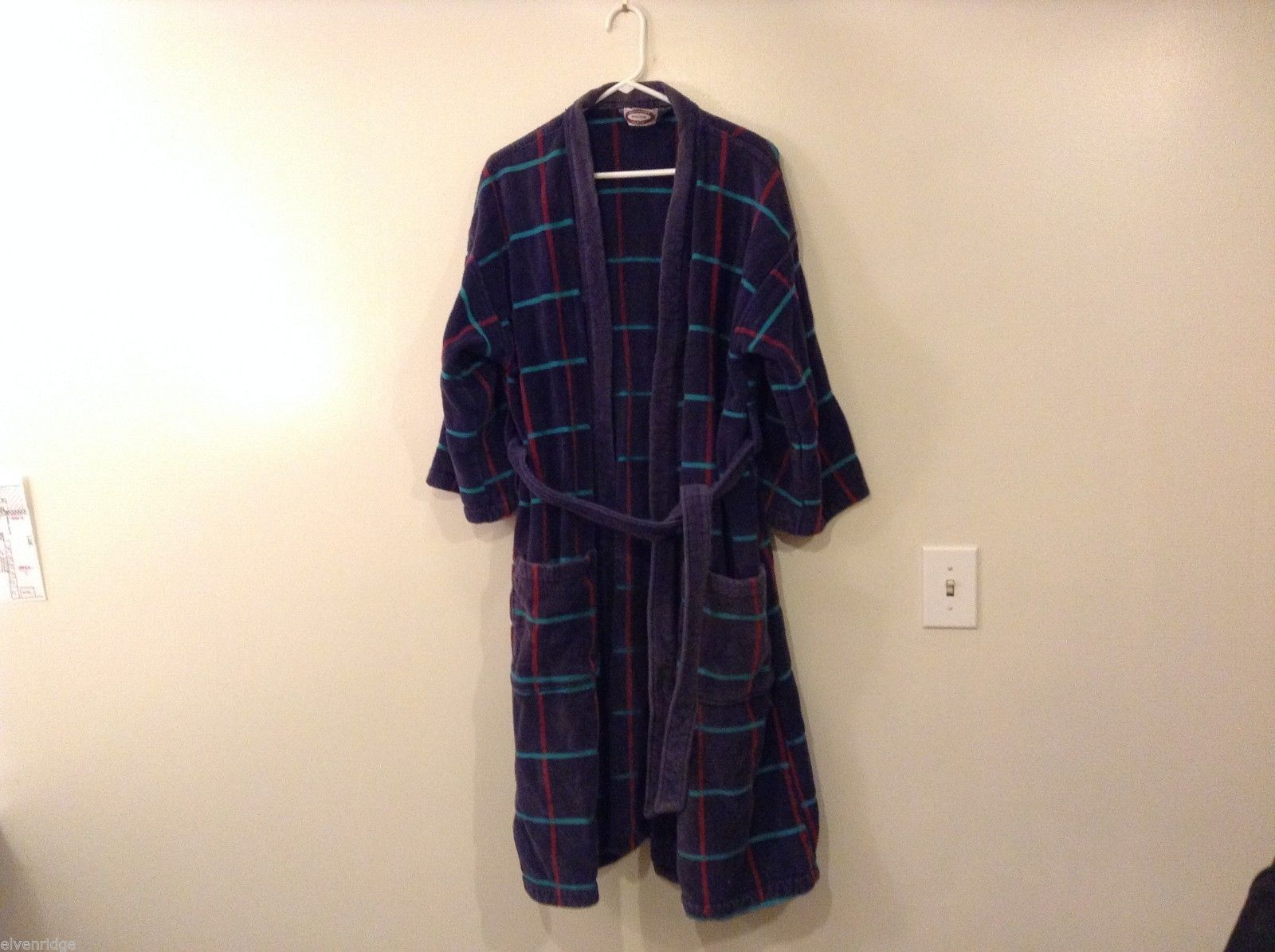 Alexander Lloyd Boston Blue Plaid Red turquoise Bath Robe 100% Cotton Size 1X