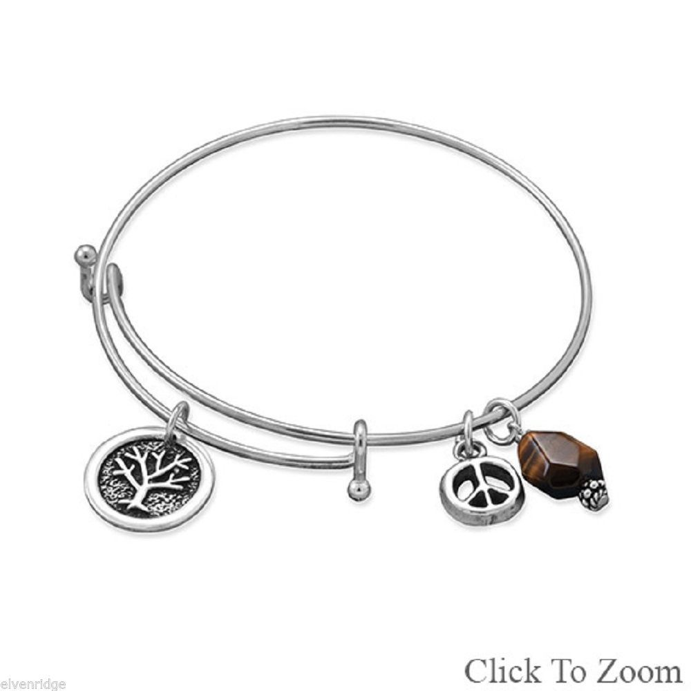 .925 Sterling Silver Tree of Life Tiger Eye Peace Sign Bangle Bracelet Stackable