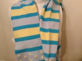 American Eagle Outfitters Striped Winter Scarf Baby Blue Yellow Turquoise image 4