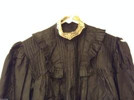 Antique Black Silk Taffeta Pleated Blouse Ruffles Museum Piece image 2