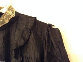 Antique Black Silk Taffeta Pleated Blouse Ruffles Museum Piece image 5