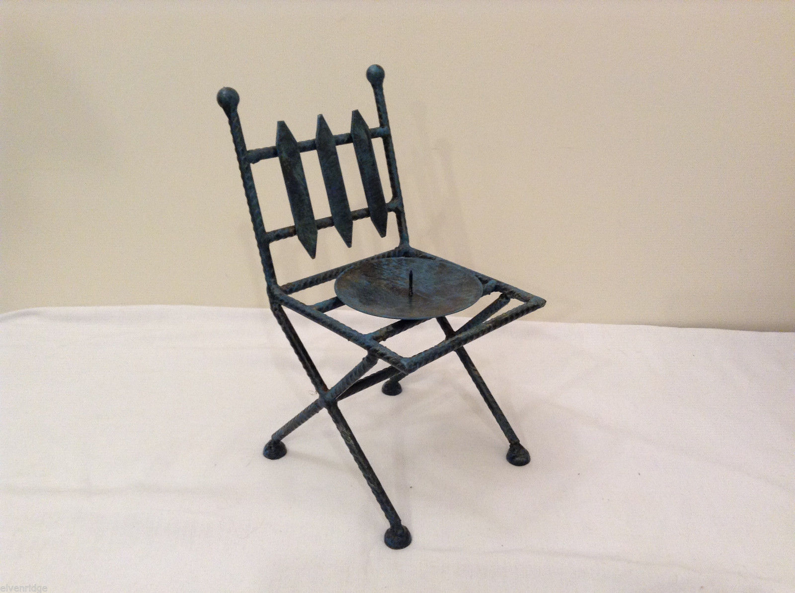 Candle Holder - Metal Chair Shape Blue Paint