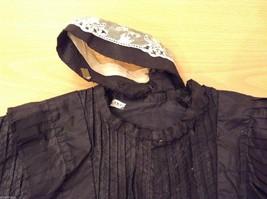 Antique Black Silk Taffeta Pleated Blouse Ruffles Museum Piece image 10