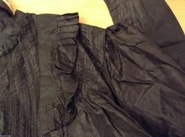 Antique Black Silk Taffeta Pleated Blouse Ruffles Museum Piece image 11