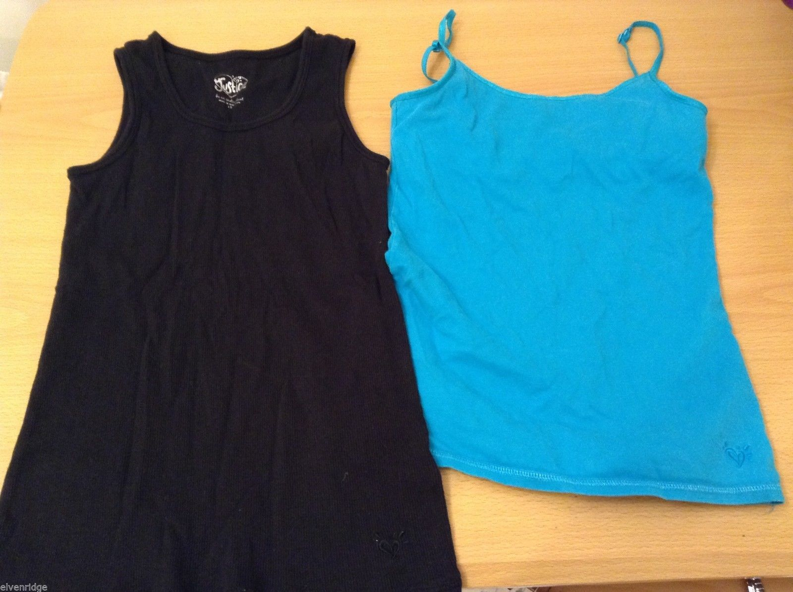 Lot of 2 Girls Justice Tank Tops Black and Turquoise Blue Size 10 and 12