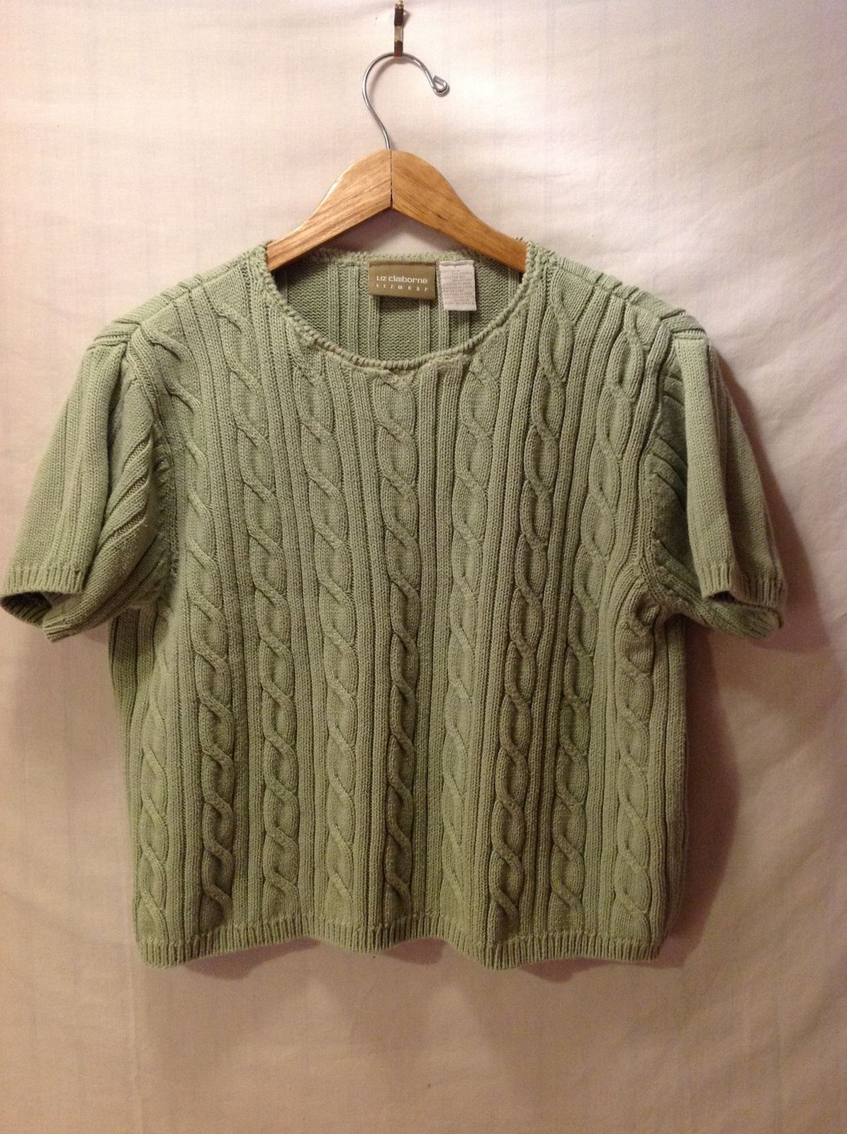 Liz Claiborne Pastel Green Short Sleeve Sweater, Size Large