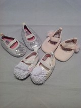Newborn girl baby shoes/booties set of 3, size 0-3 months, 8-12 lbs.
