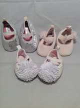 Newborn girl baby shoes/booties set of 3, size 0-3 months, 8-12 lbs. image 2