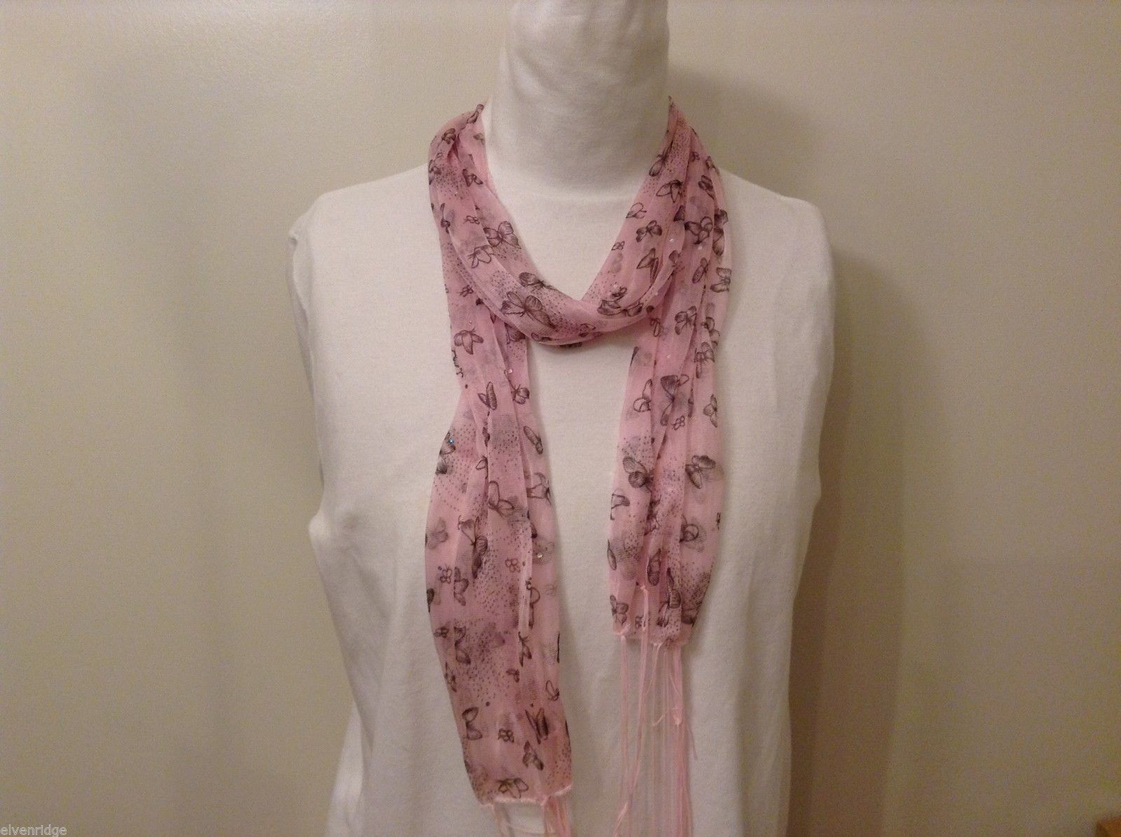Light Pink  Gray Butterflies Summer Lightweight Scarf w/ Fringe
