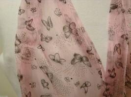 Light Pink  Gray Butterflies Summer Lightweight Scarf w/ Fringe image 3