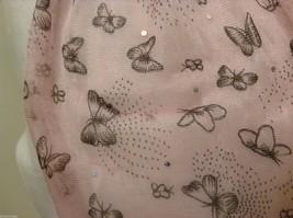 Light Pink  Gray Butterflies Summer Lightweight Scarf w/ Fringe image 4