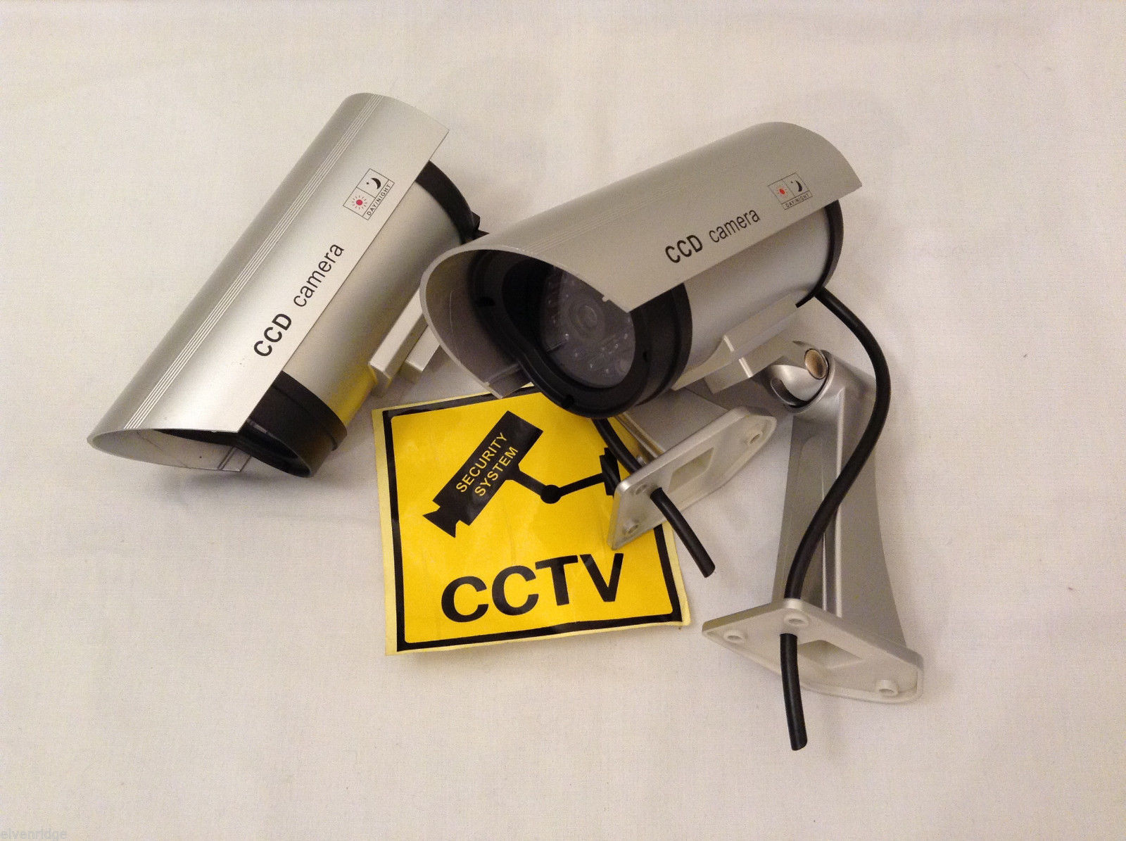 Outdoor False Security Cameras Deterent Silver set of 2 Dummy Camera