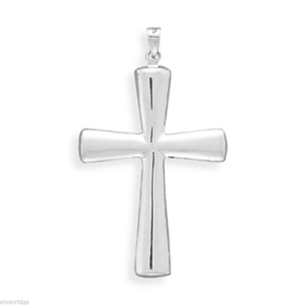 Sterling Silver Textured Puffed Cross Crucifix  Pendant