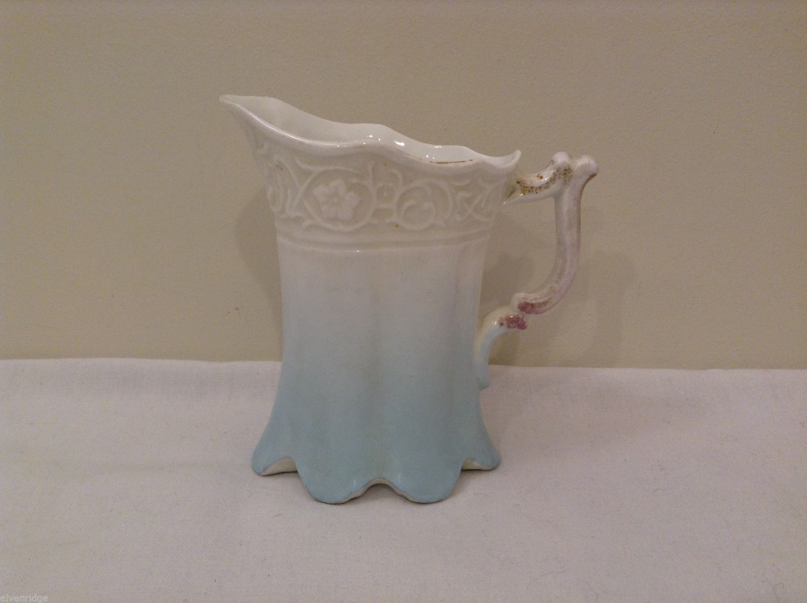 Vintage Fine China White Light Blue Creamer 492