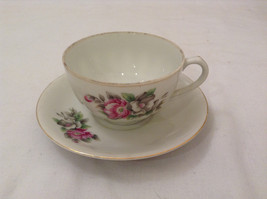 Vintage Japan Teacup and Saucer Set Peony Flowers Fine China