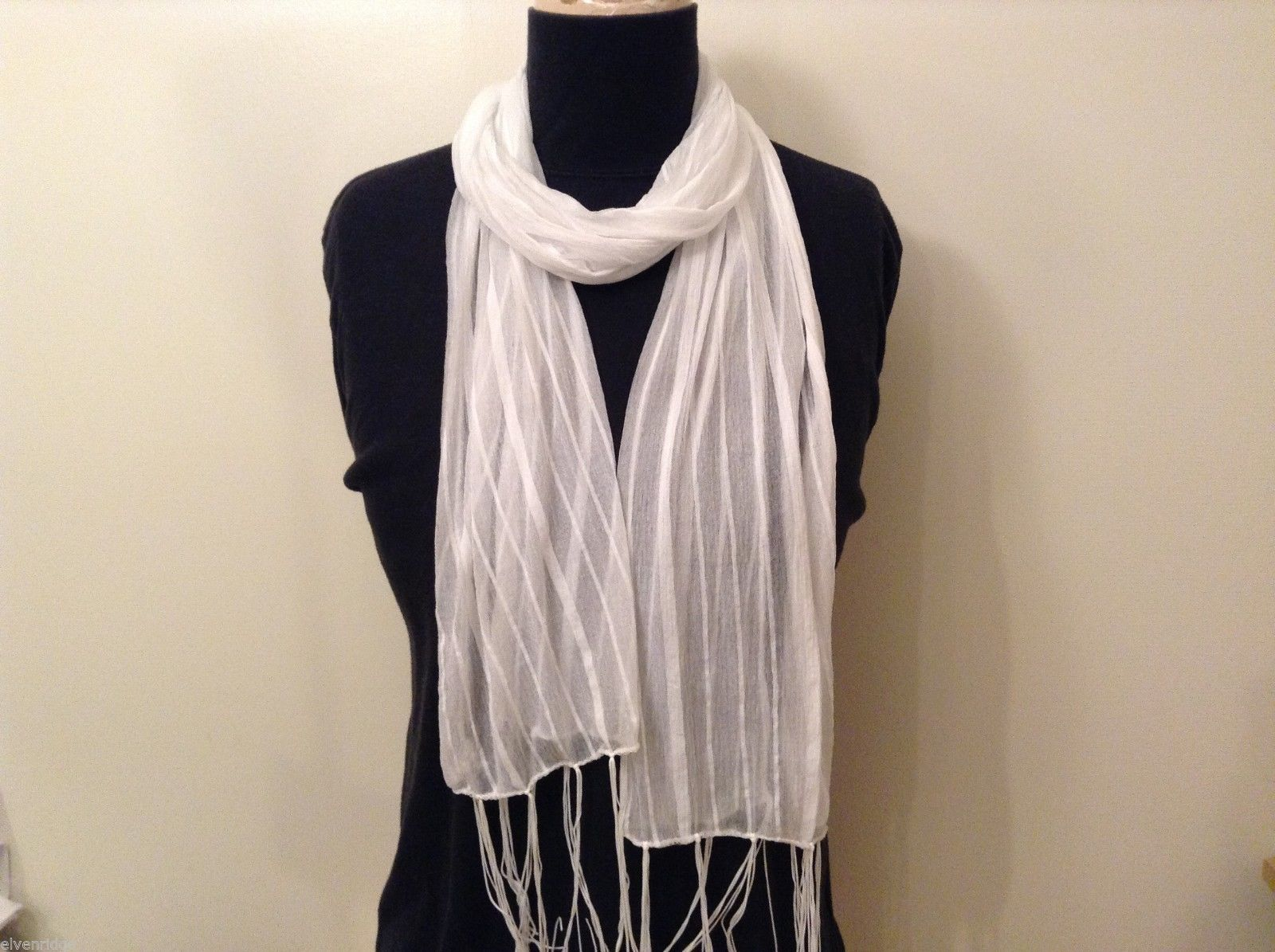 White Striped Scarf Fringe Nylon