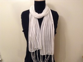 White Striped Scarf Fringe Nylon image 1