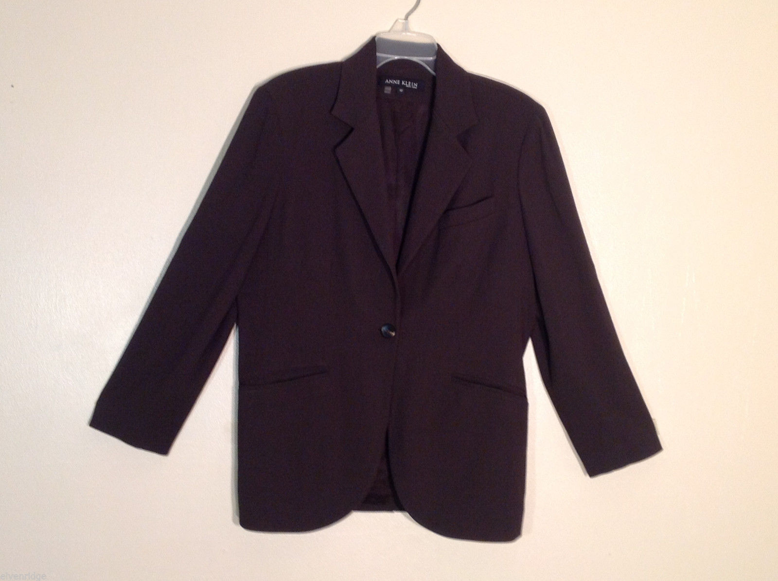 Womens Anne Klein NY Size 12 Wool Blend Bark Brown Classic Blazer Jacket