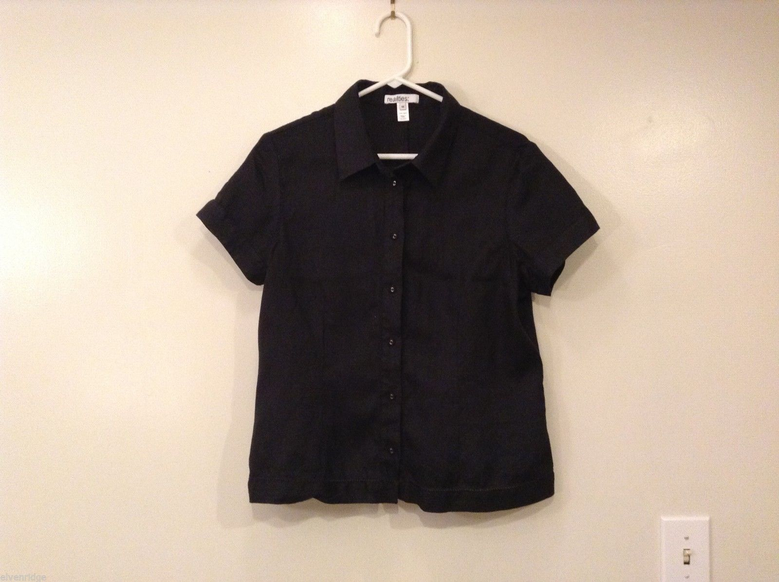 Womens Realities Black 100% Linen Short Sleeve Button Up Blouse Shirt