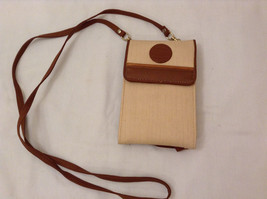 Womens Big Wallet Purse on Shoulder Strap Beige Brown