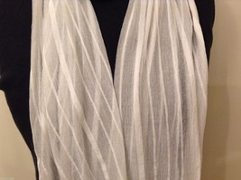 White Striped Scarf Fringe Nylon image 2