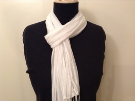 White Striped Scarf Fringe Nylon image 4