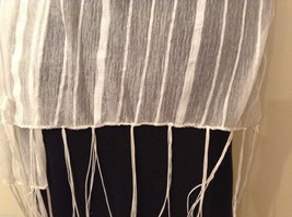 White Striped Scarf Fringe Nylon image 3