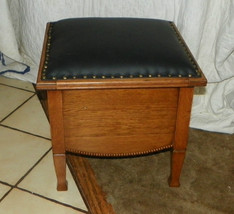 Quartersawn Oak Footstool / Stool with Black Leather Top  (ST102) - $399.00
